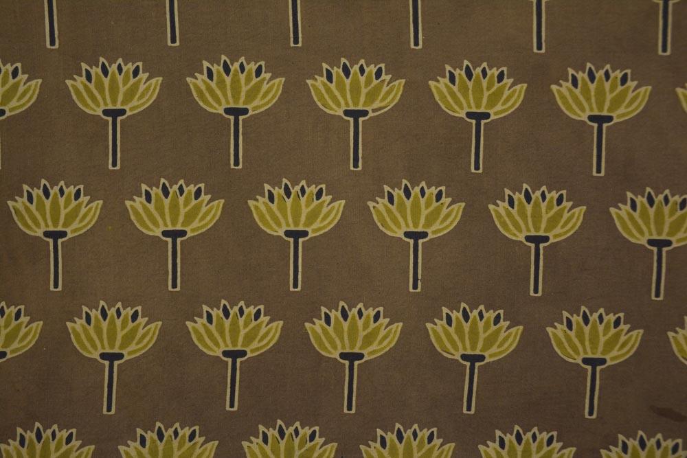 Desert Brown Ajrakh Floral Print Cotton Fabric