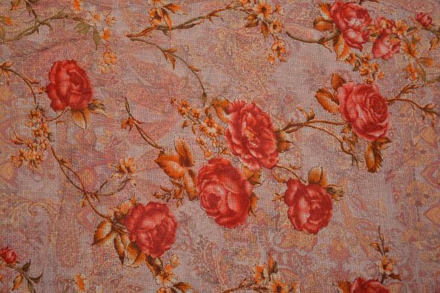 Plum Red Floral Kota Doria Fabric