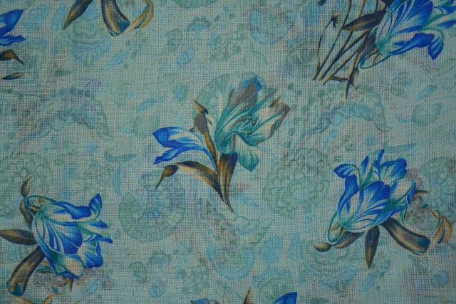 Diva Blue Floral Kota Doria Fabric