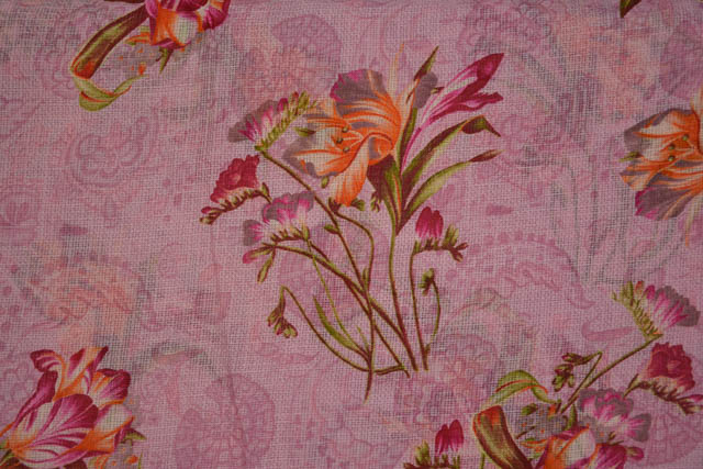 Baby Pink Floral Kota Doria Fabric