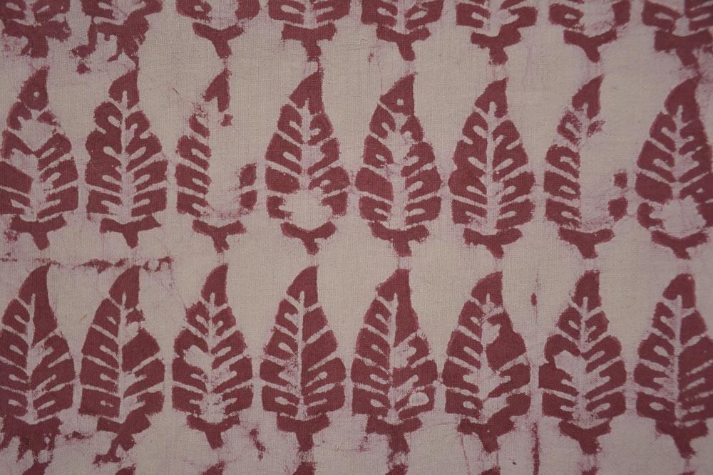 Dark Pink Khari Cotton Block Printed Fabric