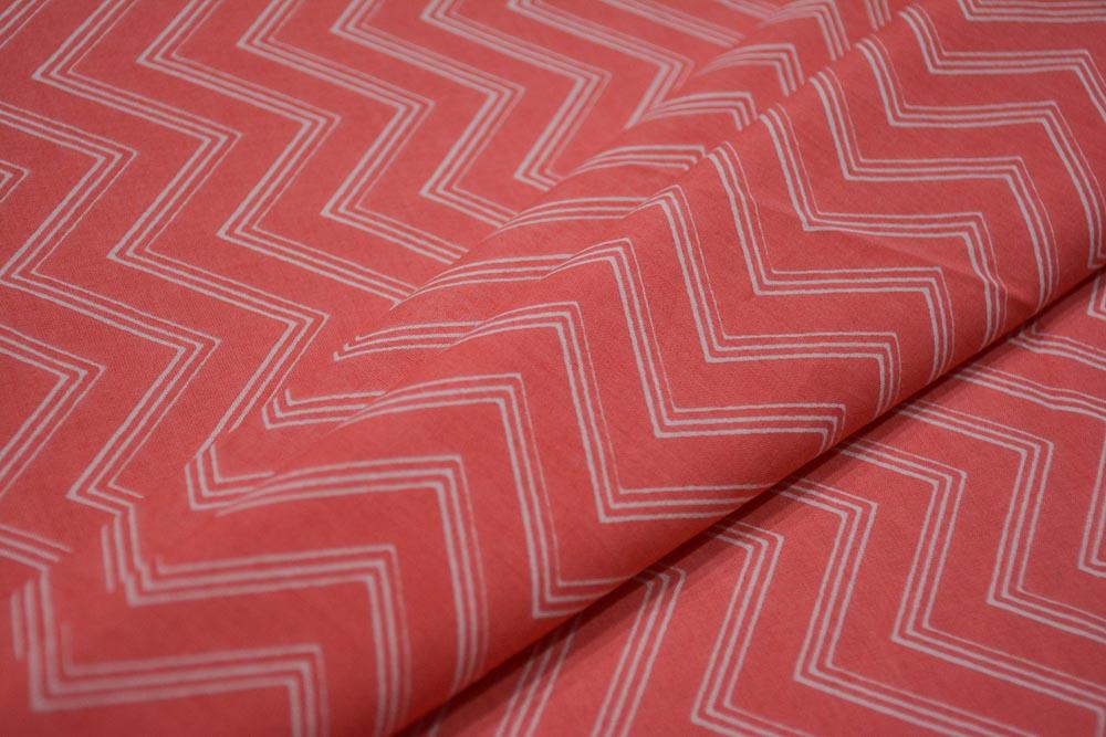 Pink Chevron Print  Cotton Fabric