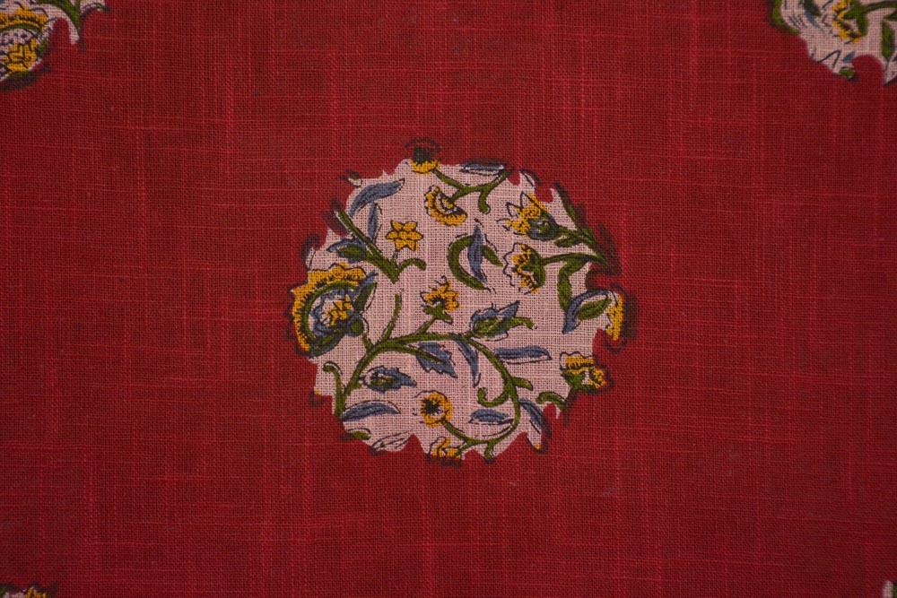 Red Floral Indian Slub Cotton Fabric