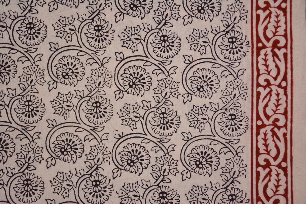 Peach Red Bagh Print Cotton Fabric