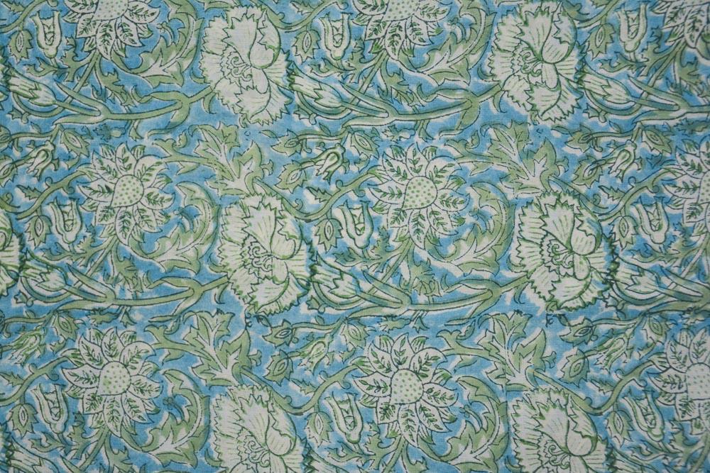 Blue Floral Hand Block Printed Mulmul Cotton Fabric