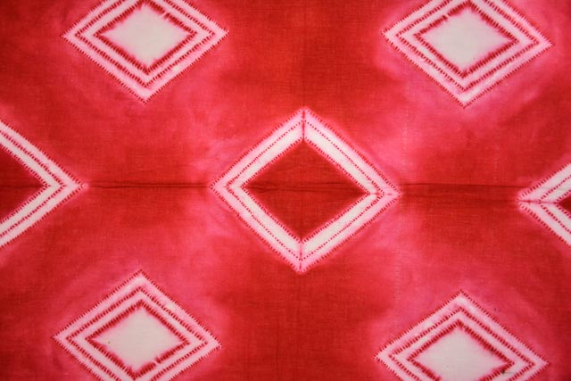 Red And White Shibori Block Printed Cotton Dupatta