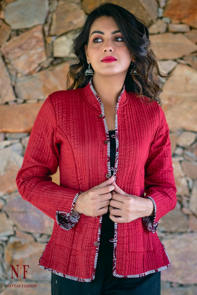 Black And Maroon Bagh Block Printed Reversible Cotton Quilted Jacket