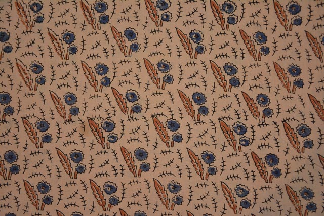 Natural Dyed Floral Block Print Ajrakh Fabric