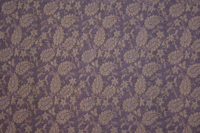 Light Purple Paisley Woven Wool Fabric By The Yard
