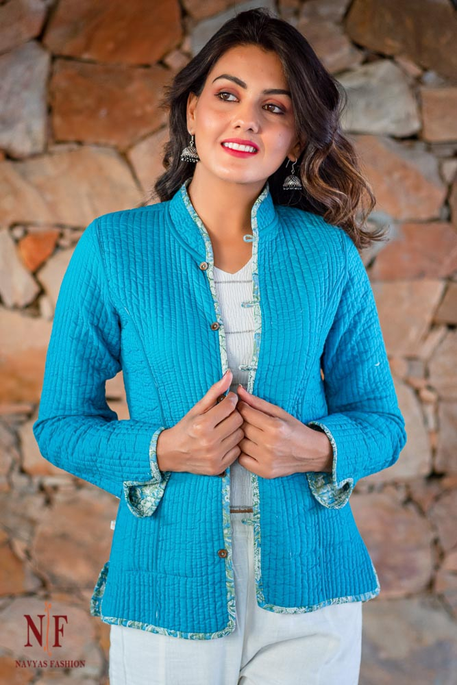 Sea Blue Floral Reversible Cotton Quilted Jacket