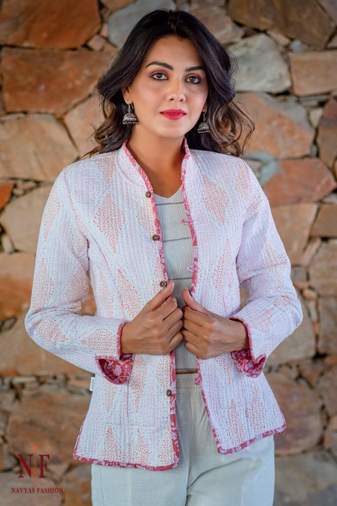 Pink And White Floral Hand Block Printed Reversible Cotton Quilted Jacket