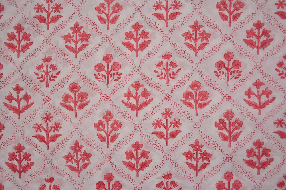 Pink Floral Hand Block Printed Mulmul Cotton Fabric