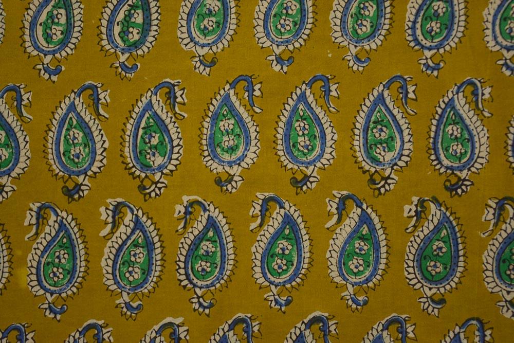 Bagru Mustard Paisley Hand Block Printed Cotton Fabric