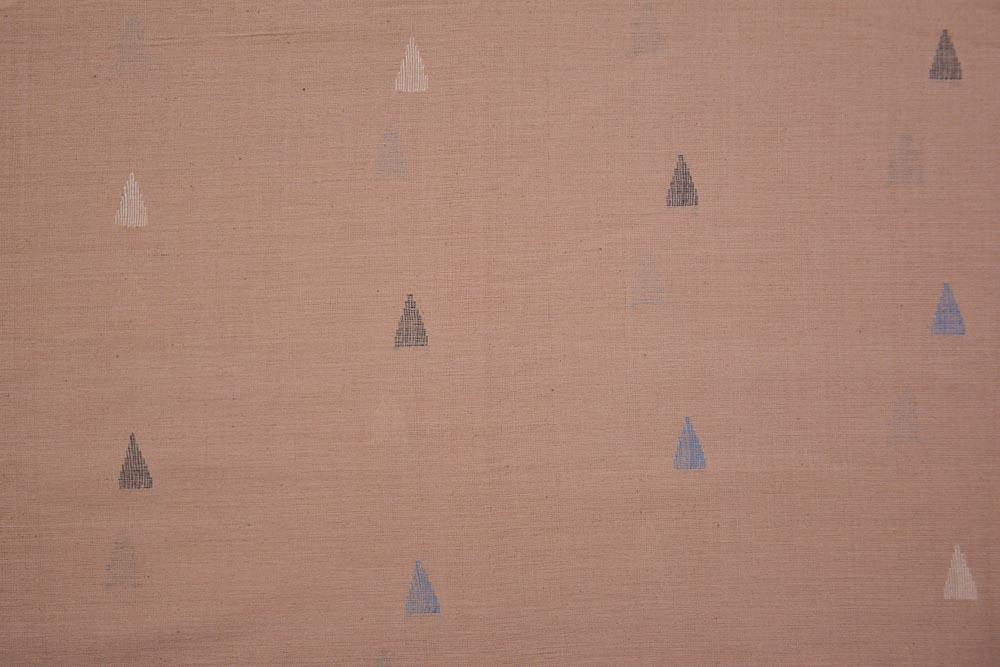 Clay Pink Khari Jamdani Cotton Fabric Online