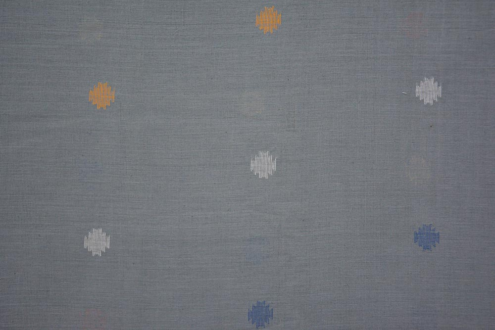 Grey Khari Jamdani Cotton Fabric Online