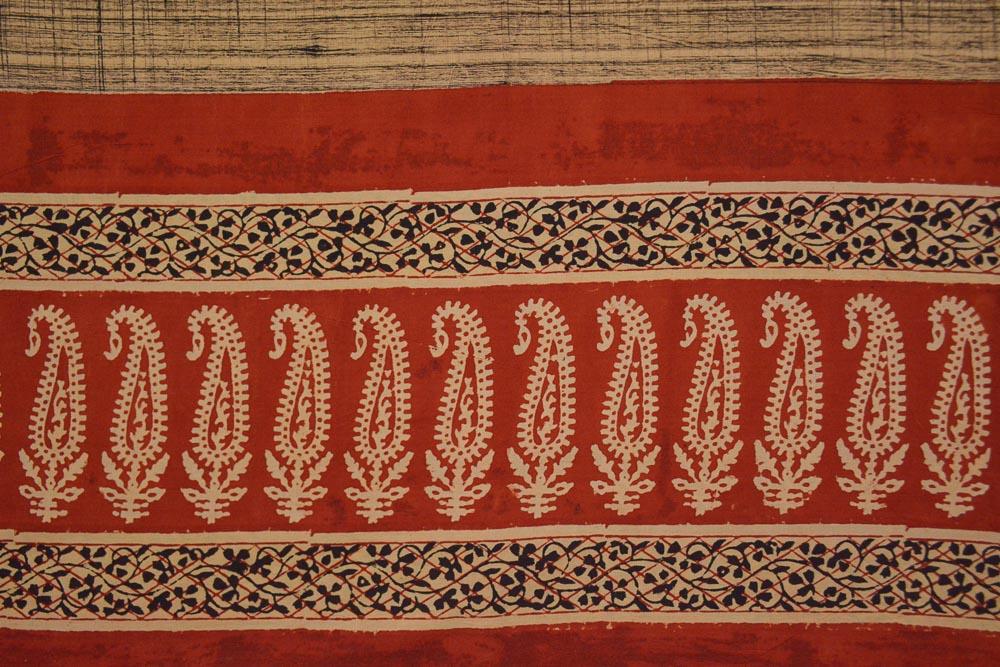 Brush Hand Block Printed Cotton Bordered Fabric