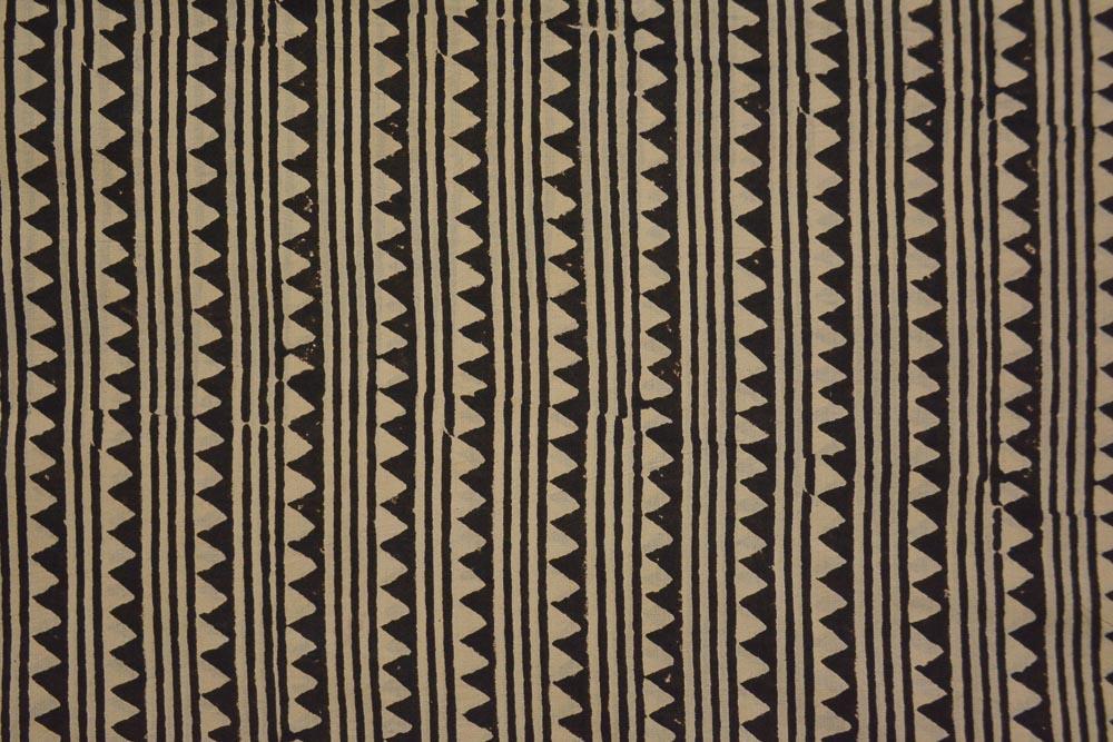 Bagru Black Triangle Hand Block Printed Cotton Fabric
