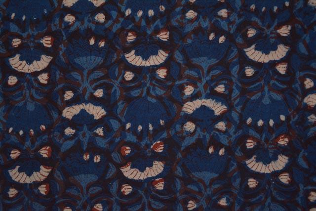 Upholstery Dark Blue Block Printed Fabric