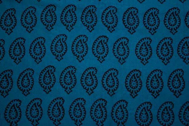 Blue And Black Block Print Handloom Mulberry Silk