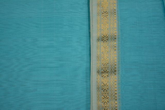 Sky Blue Zari Border Maheshwari Silk Handloom Fabric