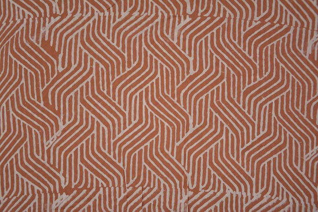 Rust Spiral Block Print Modal Fabric