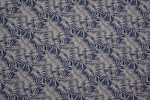 Navy Blue And White Digital Print Cotton Linen Shirting Fabric