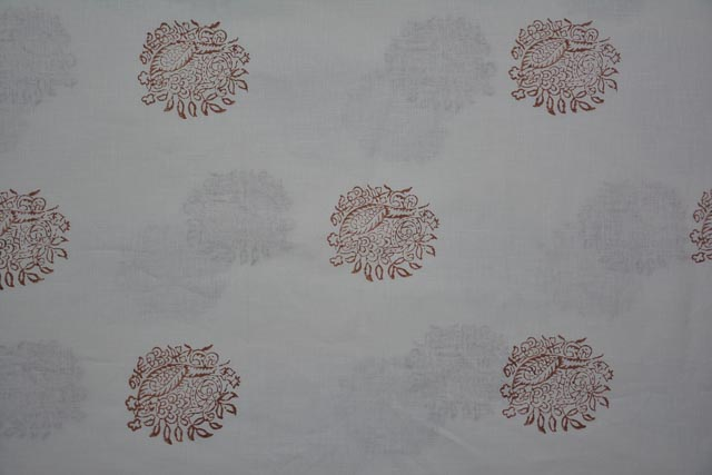 White And Brown Block Print Pure Linen Fabric