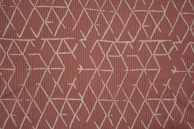 Rust Triangles Kantha Cotton Fabric