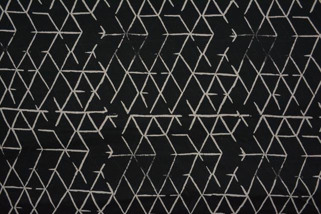 Black Diamond Block Printed Modal Fabric