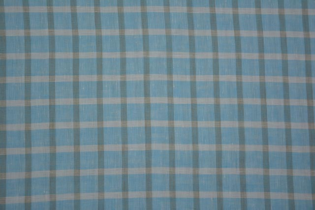 Crystal Blue Color & White Brown Pure Linen Fabric