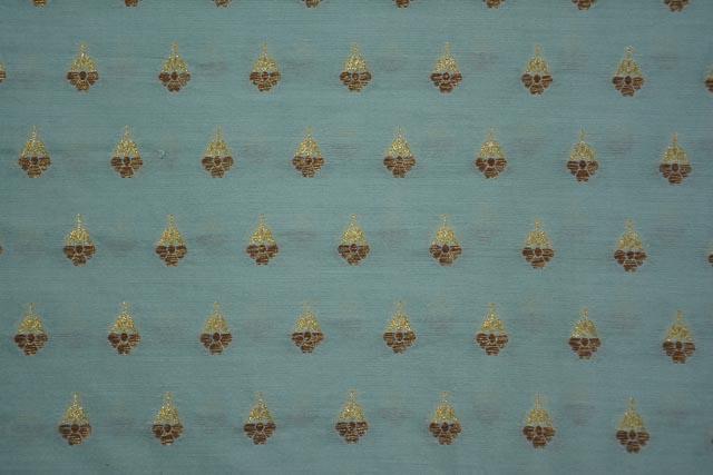 Harbor Green Golden Zari Banarasi Silk Cotton Fabric