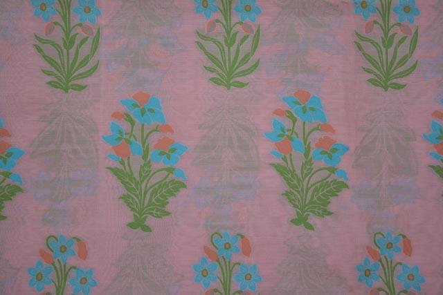 Quartz Pink Embroidered Floral Silk Cotton Fabric