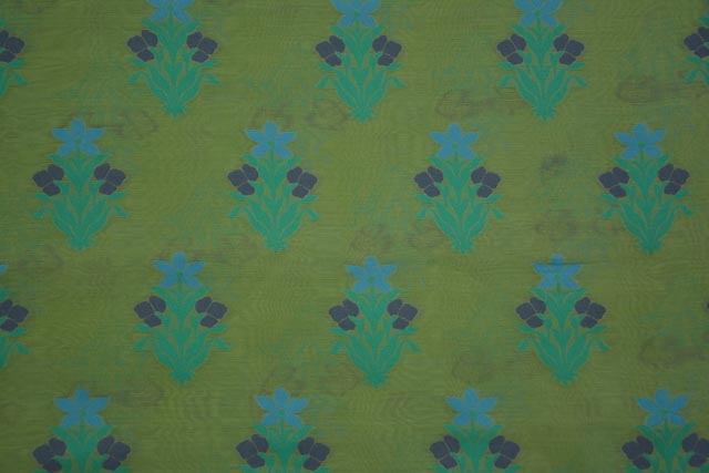 Green Embroidered Floral Silk Cotton Fabric