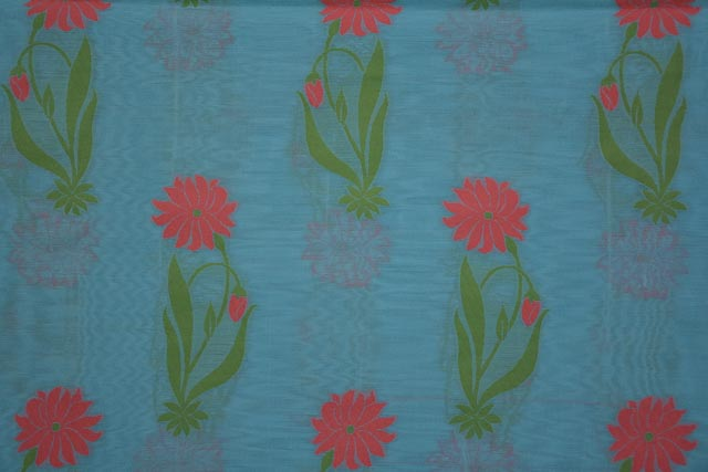 Sky Blue Embroidered Floral Silk Cotton Fabric