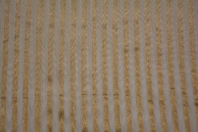 Off White And Golden Banarasi Zari Tissue Silk Fabric