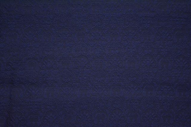 Navy Blue Self Design Banarasi Cotton Fabric