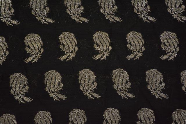 Black Zari Soft Banarasi Silk Fabric