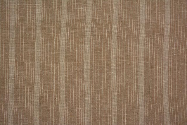 Praline And White Striped Organic Handloom Cotton Fabric