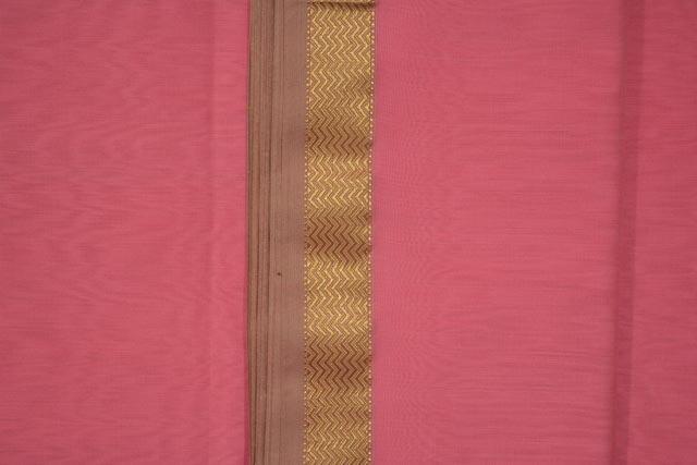 Bubble Gum Zari Border Maheshwari Silk Handloom Fabric