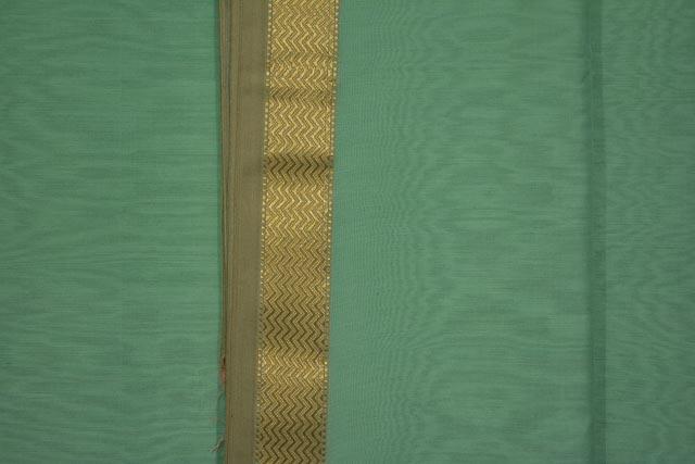 Medown Green  Zari Border Maheshwari Silk Handloom Fabric