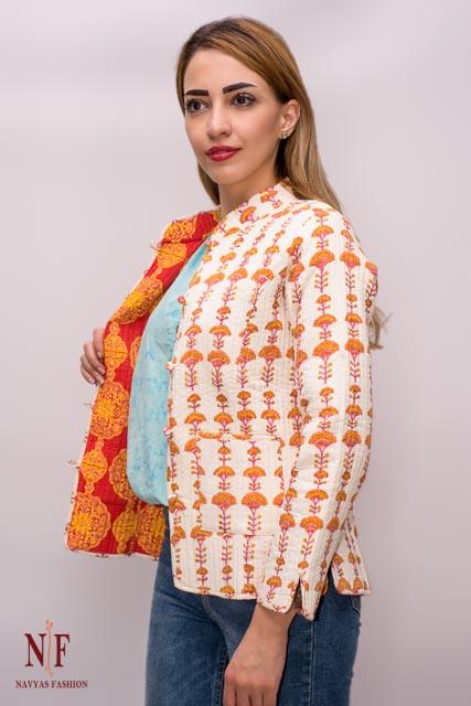 Orange Block Print Cotton Reversible Quilted Jackets