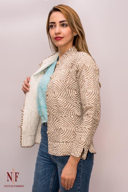 Kashish Grey Block Printed Reversible Cotton Quilted Jacket