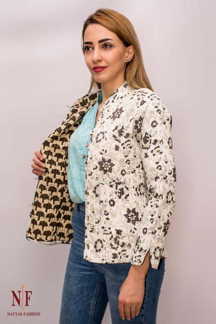 White And Green Floral Block Print Reversible Cotton Quilted Jacket