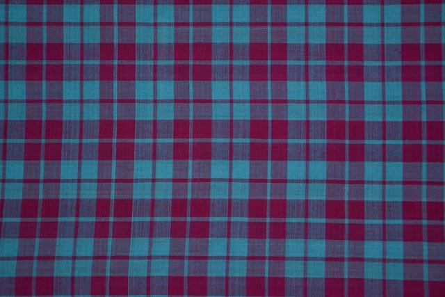 Pink And Sky Blue Checks Pattern Mangalgiri Pure Handloom Cotton Fabric