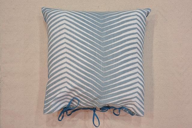 Greyish Green Zigzag Block Print Cushion Cover