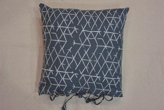 Grey & White Zig Zag Line Block Print Cushion Cover