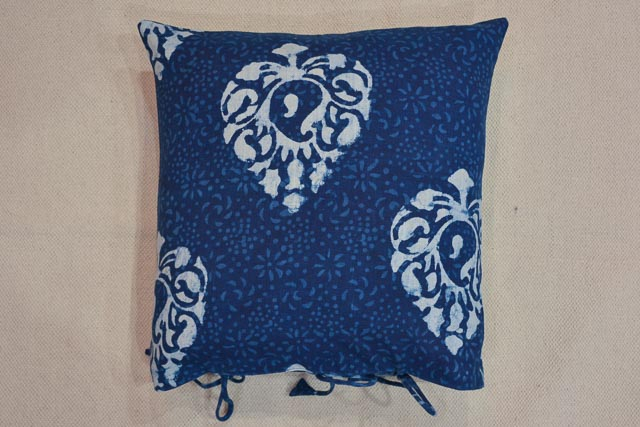 Navy Peony Blue & White Flower Block Print Cushion Cover