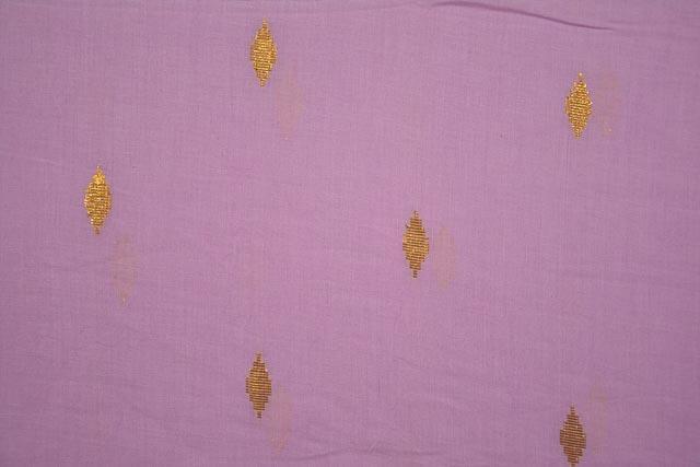 Pink Golden Zari Boota Cotton Fabric