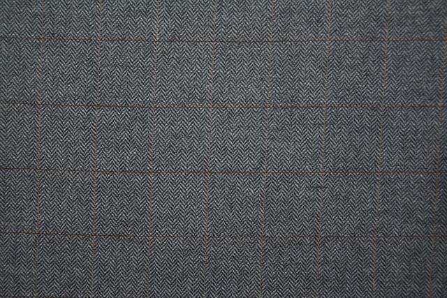 Steel Gray Herringbone Checks Tweed Wool Fabric