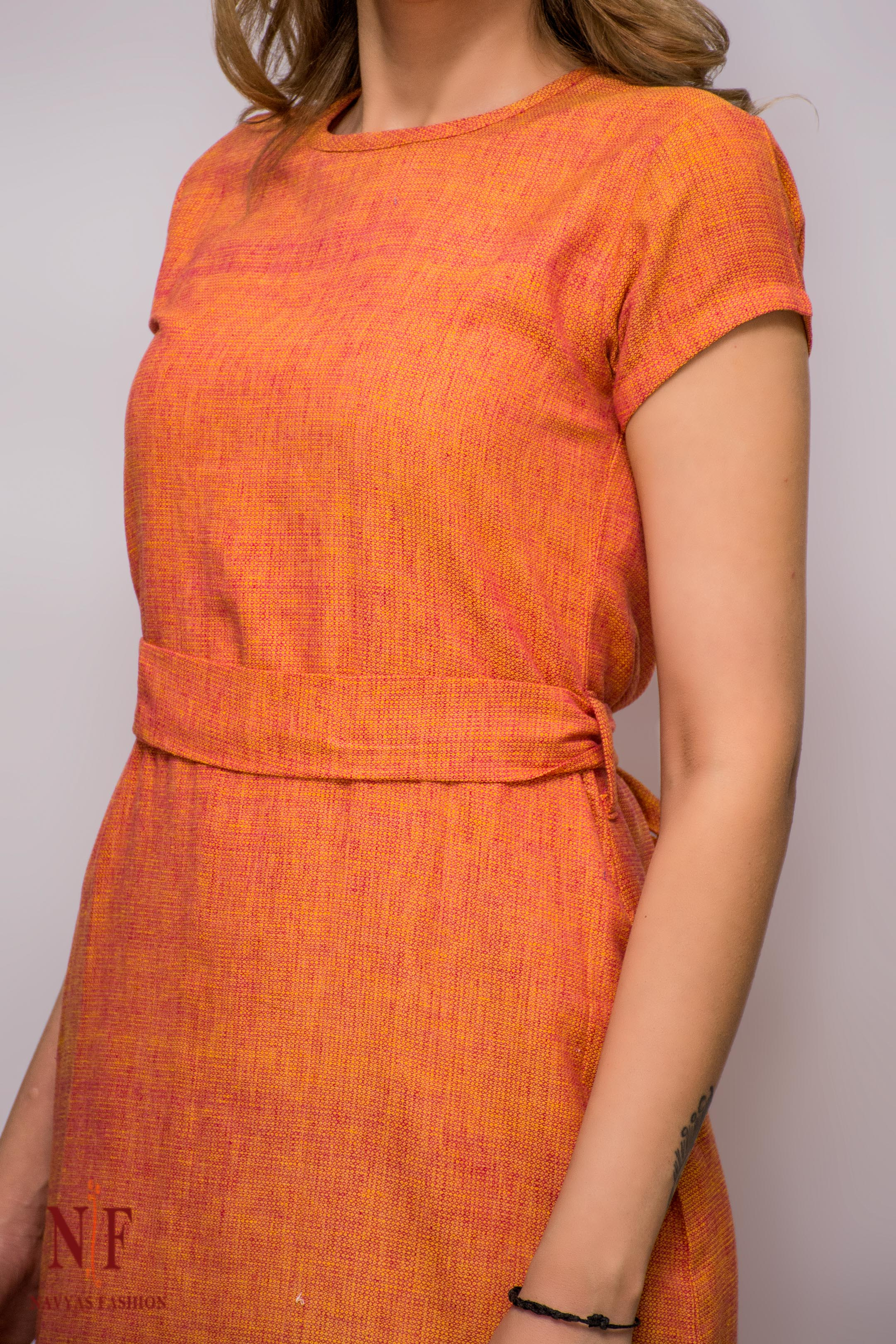 Orange Double Tone Handloom Cotton Dress